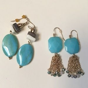 2 pairs of Drop Faux Turquoise Stone Earrings